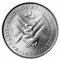 Lithuania 1999 1 Litas 10th Anniversary of the Baltic Way
